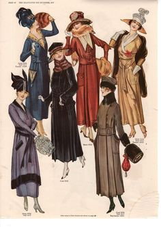 "kittyinva: "" Kittyinva: December, 1917 fashion plate from ""The Delineator"" """