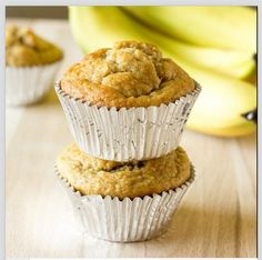 Banana Peanut Butter Oat Muffins - gluten free Ingredients:  2 ripe bananas 2 large eggs 2 cups rolled oats 3/4 cup plain, fat free Greek yogurt 1/2 cup granulated sugar 1/3 cup peanut butter 1 tsp. vanilla extract 1 tsp. baking powder 1/2 tsp. baking soda 1/4 tsp. salt . . . . . . . . . . . . . . . . . . . . . . . . . . . . . . . . . . Find the directions for this recipe on The Wholesome Dish. There is a link to her blog in her bio: @the_wholesome_dish