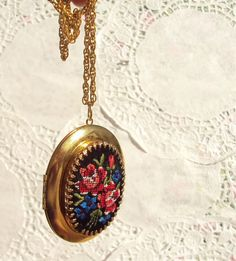 Forget Me Not  Vintage Embroidered Locket by NestingPretty on Etsy, $38.00