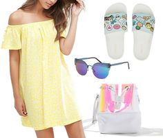 5 formas de llevar el off the shoulder. Yellow off the shoulder dress+white printed slide sandals+white bucket bag+sunglasses. Summer outfit 2016