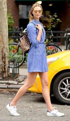 A Guide to Memorial Day Weekend Dressing, Brought to You by Karlie Kloss | People - denim shirtdress + Adidas Stan Smith sneakers