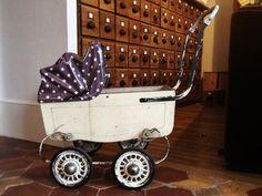 ❤ Landau de poupée vintage # toile cirée étoiles @Motif Personnel # classic pram for doll # stars # kids