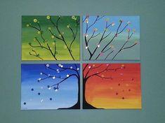 47 trendy tree painting ideas four seasons Art Lessons, Small Canvas Paintings, Seasons Art, Tree Art, Tree Painting, Painting, Art, Canvas Art Painting, Diy Canvas Art