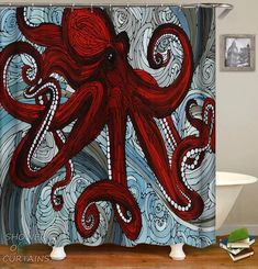 Marvelous art shower curtain of a stained glass octopus. Extraordinary octopus design features great colors and the extremely magical stained glass art. Octopus Bathroom, Octopus Shower Curtains, Shower Curtain Sizes, Custom Shower Curtains, Bathroom Shower Curtains, Fabric Shower Curtains, 3d Curtains, Curtain Fabric, Red Octopus
