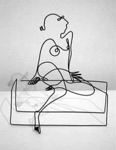 Sitting down wire sculpture