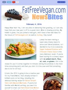 This month's newsletter features vegan scalloped potatoes, tempeh sticks, and Super Bowl treats.