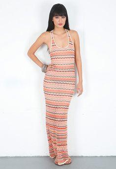 Haute Hippie Chevron Stripe Maxi Dress in Clementine Multi  $299
