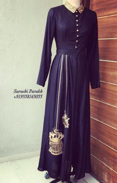 Buy Black Raw Silk Machine Work Semi Stitched Long Anarkali Suit online in India at best price. Pakistani Dresses, Indian Dresses, Indian Outfits, Indian Look, Indian Ethnic Wear, Ethnic Dress, Indian Couture, Western Dresses, Indian Attire