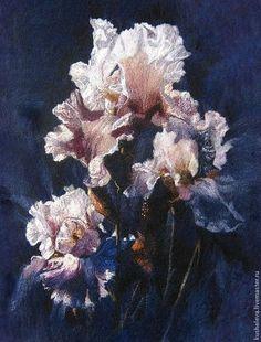 """Картины цветов ручной работы. Ярмарка Мастеров - ручная работа """"Purple Iris """".Сollin Вogle. Нуновойлочные купоны.Шерстяная живопись. Handmade."""