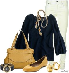 """""""Simple Navy and Camel"""" by cynthia335 on Polyvore"""