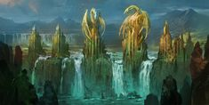 Fantasy Dragon landscape | fantasy art dragon landscapes waterfall wallpaper background