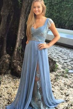 Cute blue chiffon prom dress, homecoming dress, prom dresses for teens
