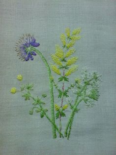 Cotswold hedgerow..Hand embroidered  picture of wild flowers on vintage linen, ready to frame by SheepInStitches on Etsy