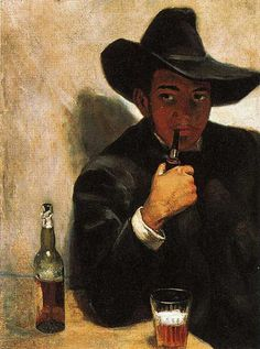 A young Diego Rivera with beer.