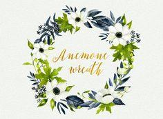 Watercolor floral wreath hand painted anemone от LanaDreamsDesign