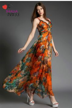 SH-031 Orange Open Back Paisley Maxi Long Sexy Strap Fancy Floral Beach Casual Plus Size Woman Summe on Luulla