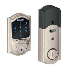 Schlage Camelot Single Cylinder Satin Nickel Touch Screen Deadbolt with Alarm-BE469WK V CAM 619 at The Home Depot
