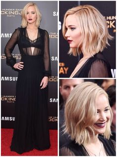 """Jennifer Lawrence look at the premiere of """"Mockingjay part.2"""" in New York, 2015."""