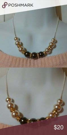 """Necklace Black & Gold Necklace with silver chain with black pearl and silver pearl and Pandora like spacers. Necklace is 18.5"""". Na Jewelry Necklaces"""