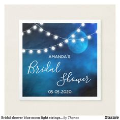 Shop Bridal shower blue moon light strings typography napkins created by Thunes.