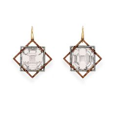 Orange Sapphire and Diamond Earrings by Taffin at Simon Teakle from TSG Greenwich.