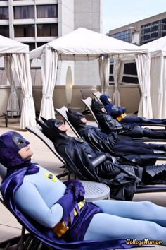 Five Generations of Batman Relaxing in the Sun .... and not a Robin to be seen ....