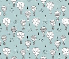 Sweet dreams hot air balloon sky scandinavian geometric style design gender soft blue XL fabric by littlesmilemakers on Spoonflower - custom fabric