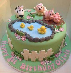Farm cake Farm Birthday Cakes, Cupcake Birthday Cake, Birthday Cake Girls, Birthday Parties, Cupcakes, Cake Cookies, Cupcake Cakes, Farm Cake, Bolo Fake