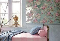 House of Turquoise: Romantic Turquoise Bedrooms The wall paper is to die… House Of Turquoise, Bedroom Turquoise, Blue Bedroom, Red Bedrooms, French Bedrooms, Anna French Wallpaper, Rose Wallpaper, Metallic Wallpaper, Bedroom Wallpaper