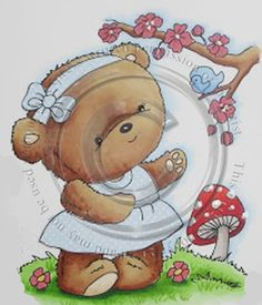 Bear Cartoon, Cute Images, Digital Stamps, Coloring Pages, Bears, Card Making, Cute Animals, Teddy Bear, Clip Art