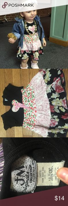 """Patchwork 18/24 mos dress A JM originals dress of Ellenville, NY.  A high quality unique dress.  Black shirt sleeve dress with """"patchwork"""" look- each layer is a different fabric- strawberries, hearts, roses.  Quit for Valentine's Day. 100% cotton- only air dried JM originals  Dresses Casual"""