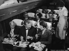 "This Is What Your Flight Used To Look Like (And It's Actually Crazy) ~ Lobster counted as airplane food.  With commercial plane travel a new market, airlines struggled to one-up each other by offering the fanciest meals. One vintage ad lists TWA's ""full meal"" to be served in-flight: soup, meat, salad, vegetables and dessert. Real glassware and roast beef were typical sights."