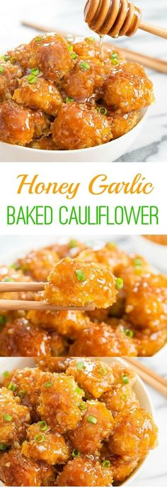 HONEY GARLIC BAKED CAULIFLOWER - Crunchy baked breaded cauliflower pieces are coated with honey garlic sauce. It's an easy and delicious weeknight meal. ^^ CLICK TO SEE FULL RECIPES ^^ | Vegetarian | Vegetarian Recipes | Vegetarian Meals  | Vegetarian Recipes Dinner | Vegetarian Meal Prep | Vegetarian Dinner | Vegetarian Recipes Healthy | Vegetarian Recipes Easy | Vegetarian Recipes High Protein  | #lorente Muscle Building, Build Muscle, Chicken Wings, Curry, Vegetarian, India, Lose Weight, Meat, Ethnic Recipes
