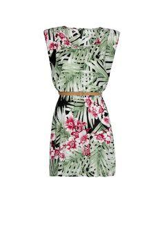 MANGO - Kleid mit Blattmuster