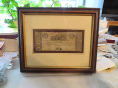 Nicely Framed 1837 Port Deposit, Maryland Obsolete $5.00 Note, Free USA Shipping