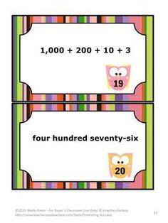 Math Task Cards Place Value Standard Form