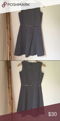 Talbots Summer Dress - only worn once! Great condition. Only worn once - to my bridal luncheon. Talbots. Navy and white stripe. Very slimming fit. Talbots Dresses