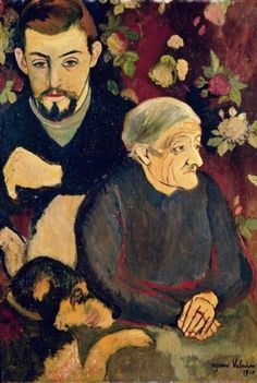Suzanne Valadon:  Portrait of Maurice Utrillo, his Grandmother and his Dog (1910)