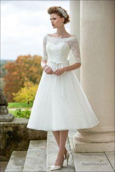 111 elegant tea length wedding dresses vintage (14)