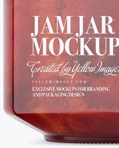 900ml Strawberry Jam Glass Jar w/ Clamp Lid Mockup - Half Side View