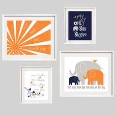 Kids Wall Art You Are My Sunshine Orange Navy and by YassisPlace, $69.95