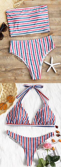 Striped Tube Top With High Cut Bikini Bottoms - Stripe S#Zaful#Bikini#Swimwear