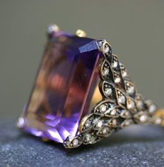 Stunning ring - gold/diamond/amethyst by Cathy Waterman