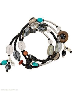 """I love Silpada. A charismatic medley of Sterling Silver, stabilized Turquoise, Labradorite, Bronzite, Quartz, Onyx, Agate, Jasper and Obsidian combines in this Wrap Bracelet. Fits up to a 7"""" wrist."""