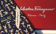 Price $107.96 Salvatore Ferragamo Neck Tie & Gift Box. 100% Silk, Made In Italy. Navy Blue with Birds on the Docks.New Without Tags  In Box. Measu...