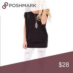 Black short dolman sleeve top Black short dolman sleeve top.  NOTE: Top fits like in picture 2. Tops