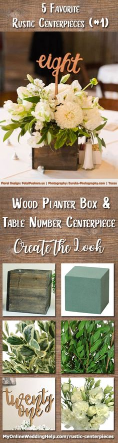 Wood planter box centerpiece with table number. This is a great way to have wedding items do double duty. Arrange flowers in a rustic planter box and add a number pick. If you are not talented in flower arrangements, use baby's breath or hydrangeas. Planter Box Centerpiece, Wood Planter Box, Rustic Wedding Centerpieces, Wedding Table Numbers, Diy Centerpieces, Wedding Rustic, Planter Table, Fake Flower Centerpieces, Wedding Decorations