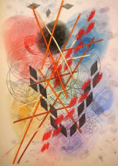 Geometrical abstract art. Art lesson for children. Using all kinds of helping materials to create geometrical forms, plus paper cut lines and soft pastels for background.