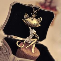 Cheap necklace charm, Buy Quality necklace punk directly from China necklace statement Suppliers: Tomtosh European and American fashion women sexy cat girl rhinestone crystal pendant necklace Free shipping