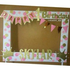 Pink and Gold birthday party photobooth frame decoration.- Pink and Gold birthday party photobooth frame decorations ✨ More Pink and Gold birthday party photobooth frame decorations ✨ More – 20 Awesome Photo Booth Ideas Diy Inspiration - Pink And Gold Birthday Party, Golden Birthday, Baby First Birthday, First Birthday Parties, Gold Party, Princess First Birthday, Birthday Frames, Birthday Photos, Birthday Ideas